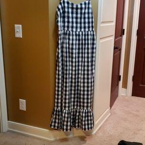 Navy gingham maxi dress